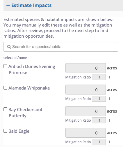 menu with list of species and acreage targets